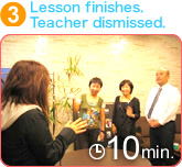 3. Lesson finishes.  Teacher dismissed. [10min]
